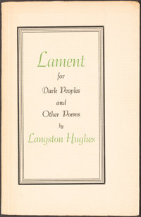 Langston Hughes. Lament for Dark Peoples. [Amsterdam]: 1944. First edition