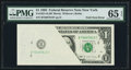 Error Notes:Foldovers, Fr. 1921-B $1 1995 Federal Reserve Note. PMG Gem Uncirculated 65EPQ.. ...