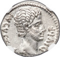 Ancients:Roman Imperial, Ancients: Augustus (27 BC-AD 14). AR denarius (18mm, 3.80 gm, 6h).NGC MS 5/5 - 4/5....