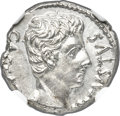 Ancients:Roman Imperial, Ancients: Augustus (27 BC-AD 14). AR denarius (18mm, 3.87 gm, 6h).NGC MS 4/5 - 4/5....