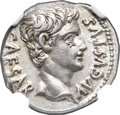 Ancients:Roman Imperial, Ancients: Augustus (27 BC-AD 14). AR denarius (18mm, 3.79 gm, 7h). NGC Choice XF 5/5 - 4/5....