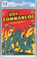 Golden Age (1938-1955):War, Boy Commandos #1 (DC, 1942) CGC VF- 7.5 Off-white pages....
