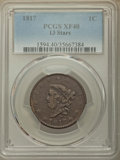 Large Cents, 1817 1C 13 Stars XF40 PCGS. PCGS Population: (38/346). NGC Census: (12/179). CDN: $175 Whsle. Bid for problem-free NGC/PCGS...