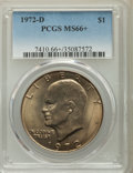 Eisenhower Dollars, 1972-D $1 MS66+ PCGS. PCGS Population: (536/18). NGC Census: (416/9). CDN: $90 Whsle. Bid for problem-free NGC/PCGS MS66. M...