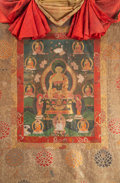 Asian:Chinese, A Tibetan Thangka Depicting Seated Shakyamuni and Attendants,18th-19th century. 51 inches high x 30 inches wide (129.5 x 76...
