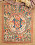Asian:Chinese, A Tibetan Thangka Depicting the Peaceful and Wrathful Deities ofBardo, 18th-19th century. 53 inches high x 30 inches wide (...