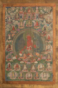 Asian:Chinese, A Tibetan Thangka Depicting Seated Red Tara and Associated Deities,18th century. 61 inches high x 30 inches wide (154.9 x 7...