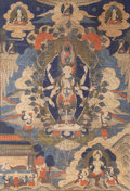 Asian:Chinese, A Yunnan Thangka Depicting Avalokiteshvara, 19th century. 52-1/2inches high x 30-1/2 inches wide (133.4 x 77.5 cm) (textile...