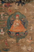 Asian:Other, A Tibetan Thangka Depicting Tsongkhapa with Associated Lamas andDeities, 18th century or earlier. 50 inches high x 25-1/2 i...