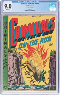 Criminals on the Run V5#1 Mile High Pedigree (Novelty Press, 1949) CGC VF/NM 9.0 White pages