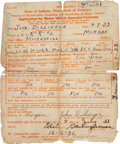 Autographs:Celebrities, John Dillinger Driver's License Application Signed... (Total: 2 Items)