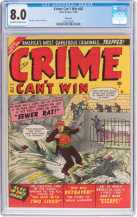 Crime Can't Win #42 (#2) Mile High Pedigree (Marvel, 1950) CGC VF 8.0 Off-white to white pages