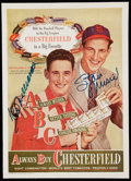 Autographs:Photos, Chesterfield Cigarettes Advertisement Magazine Page Signed by TedWilliams and Stan Musial....