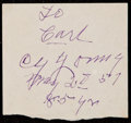 Autographs:Index Cards, 1951 Cy Young Cut Signature....