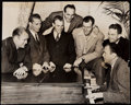 Autographs:Bats, 1940 Green Bay Packers Starting Line and Don Hutson Vintage Original Photograph....