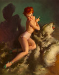 Paintings, Gil Elvgren (American, 1914-1980). He Almost Scared Me Out of My Skin!, 1948. Oil on canvas. 30 x 24 in.. Signed lower r...