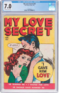 Golden Age (1938-1955):Romance, My Love Secret #28 (Fox Features Syndicate, 1950) CGC FN/VF 7.0Off-white to white pages....