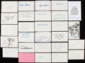 Autographs:Index Cards, Football Greats Signed Index & Postcard Lot of 27....