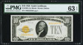 Small Size:Gold Certificates, Fr. 2400 $10 1928 Gold Certificate. PMG Choice Uncirculated 63 EPQ.. ...