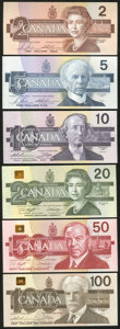Canadian Currency, BC- $2-$100 1986-1991 Set Six Notes.. ... (Total: 6 notes)