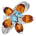 Estate Jewelry:Rings, Citrine, Blue Topaz, White Gold Ring. ...
