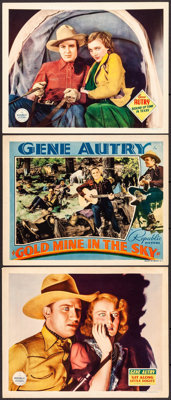 """Git Along Little Dogies & Others Lot (Republic, 1937). Lobby Cards (3) (11"""" X 14""""). Western. ... (Tota..."""