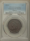 Large Cents: , 1814 1C Plain 4 -- Cleaning -- PCGS Genuine. XF Details. PCGS Population: (3/91). XF40. ...