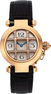 Cartier Lady's Diamond, Gold Pasha 32 Watch