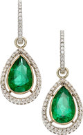 Estate Jewelry:Earrings, Emerald, Diamond, Gold Earrings . ...