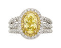 Estate Jewelry:Rings, Fancy Yellow Diamond, Diamond, Platinum, Gold Ring, Charles Krypell. ...