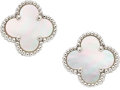 Estate Jewelry:Earrings, Mother-of-Pearl, White Gold Earrings, Van Cleef & Arpels, French. ...