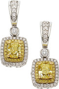 Estate Jewelry:Earrings, Fancy Yellow Diamond, Diamond, Platinum, Gold Earrings, Charles Krypell. ...
