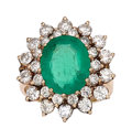 Estate Jewelry:Rings, Emerald, Diamond, Gold Ring  The ring features...