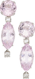 Estate Jewelry:Earrings, Kunzite, Diamond, White Gold Earrings . ...