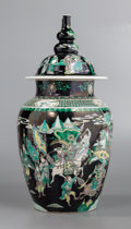 Asian:Chinese, A Rare and Large Chinese Famille Noir Porcelain Jar and Cover, QingDynasty, Kangxi Period, circa 1662-1722. 28-3/4...