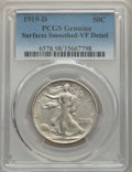 Walking Liberty Half Dollars, 1919-D 50C -- Surfaces Smoothed -- PCGS Genuine. VF Details. NGC Census: (26/412). PCGS Population: (56/613). CDN: $235 Whs...