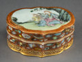Asian:Chinese, A Chinese Export Porcelain Lingzhi-Form Covered Box, Qing Dynasty.Marks: Six-character Qianlong seal. 1-3/4 h x 4-1/4 w x 3...(Total: 2 Items)