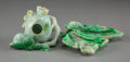 Asian:Chinese, Two Chinese Carved Jadeite Brush Washers. 1 h x 5 w x 4-1/2 dinches (2.5 x 12.7 x 11.4 cm) (lotus). PROPERTY FROM A BEVER...(Total: 2 Items)