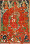 Asian:Chinese, A Tibetan Thangka Depicting Begtse Chen, 17th-18th century . 23-1/4inches high x 15-1/2 inches wide (59.1 x 39.4 cm) (work)...