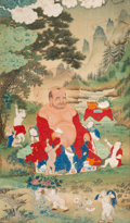 Asian:Chinese, A Chinese Silk Painting Depicting a Seated Budai and Children,early Qing Dynasty. 31 inches high x 18-1/8 inches wide (78.7...