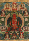 Asian:Chinese, A Tibetan Thangka Depicting Seated Amitabha, 18th-19th century.18-1/2 inches high x 13-1/2 inches wide (47.0 x 34....