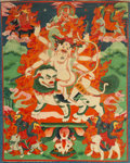 Asian:Chinese, A Tibetan Thangka Depicting Gyalpo Pehar, 18th-19th century. 25inches high x 14-3/4 inches wide (63.5 x 37.5 cm) (textile,...