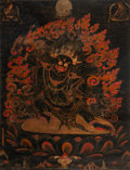Asian:Chinese, A Tibetan Black Ground Thangka Depicting Mahakala, 18th century orearlier. 16 inches high x 12 inches wide (40.6 x 30.5 cm)...