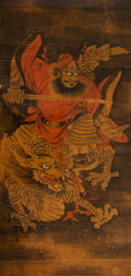 Asian:Chinese, Attributed to Xu Shichang (Chinese, 1855-1939). Zhong Kui Ridinga Dragon. Ink and color on paper. 51 inches high x 24-1...