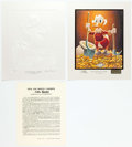 """Memorabilia:Disney, Carl Barks Pick and Shovel Laborer Signed Gold Plate """"White Sculpture"""" Limited Edition Miniature Lithograph Print ... (Total: 2 Items)"""