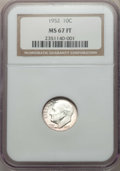 Roosevelt Dimes, 1952 10C MS67 Full Bands NGC. NGC Census: (39/0). PCGS Population: (30/0). CDN: $200 Whsle. Bid for problem-free NGC/PCGS M...