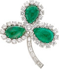 Estate Jewelry:Brooches - Pins, Emerald, Diamond, Platinum Brooch, Ruser. ...
