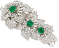 Estate Jewelry:Brooches - Pins, Emerald, Diamond, Platinum, Gold Brooch-Bracelet, Monture Cartier, French. ...
