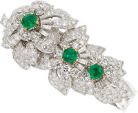 Emerald, Diamond, Platinum, Gold Brooch-Bracelet, Monture Cartier, French