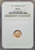 Commemorative Gold, 1917 G$1 McKinley Gold Dollar MS65 NGC. NGC Census: (289/220). PCGSPopulation: (633/512). MS65. Mintage 10,000. ...
